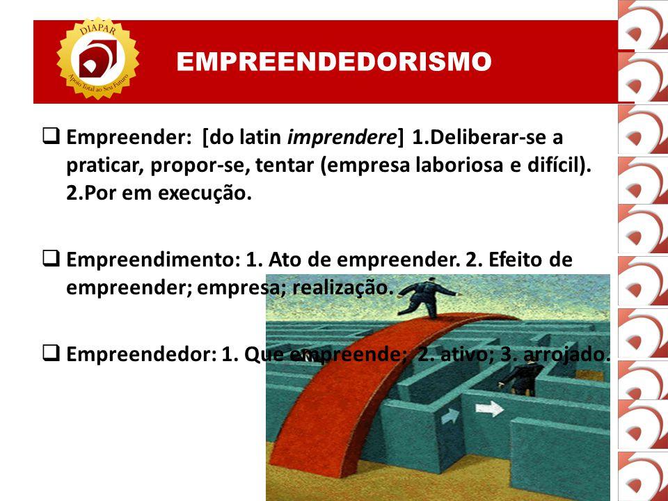 EMPREENDEDORISMO Empreender: [do latin imprendere] 1.Deliberar-se a praticar, propor-se, tentar (empresa laboriosa e difícil). 2.Por em execução.